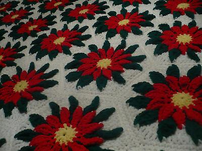 Vtg Christmas Handmade Crochet Granny Square Afghan Red Poinsettia Flowers 38x52