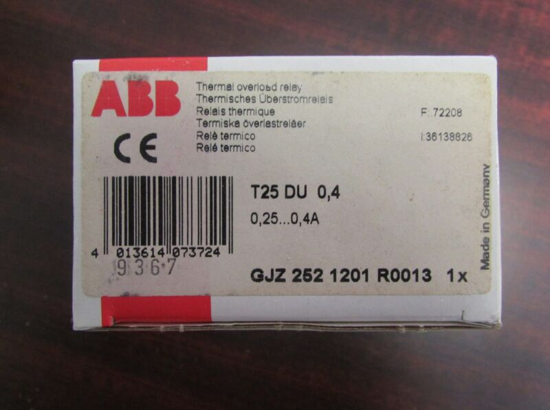 ABB Overload Relay T25 DU 04 GJZ 252 1201 R0013 1X
