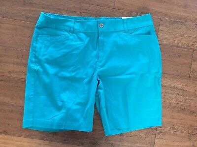 New NWT Christopher & Banks Size 16 Teal Shorts Stretchy Modern Fit - Christopher Banks Moden