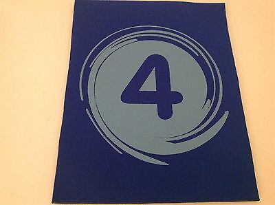 """Neoprene Sewing Patch Number 4 Swirl Royal Blue Rectangle 8"""" x 6"""" Soft"""