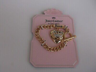 Juicy Couture Rhinestone Crown Heart Charm Toggle Bracelet Gold Tone NEW Juicy Couture Crown Charm