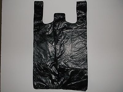 64 ct PLASTIC SHOPPING BAGS ,T SHIRT TYPE, GROCERY BLACK MEDIUM 1/8 SIZE BAGS.