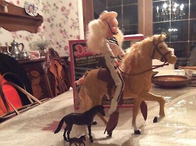Vintage Barbie Doll And Dallas Horse