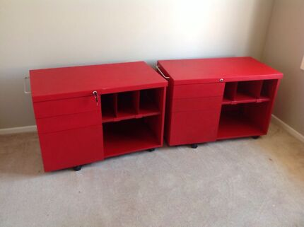 Red steel metal 3drawer office filing cabinet wheel Kings Park Brimbank Area Preview