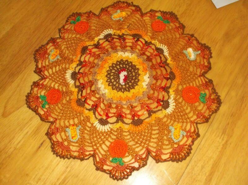 New Hand Crochet Thanksgiving Turkey Pumpkin Corn doily Centerpiece