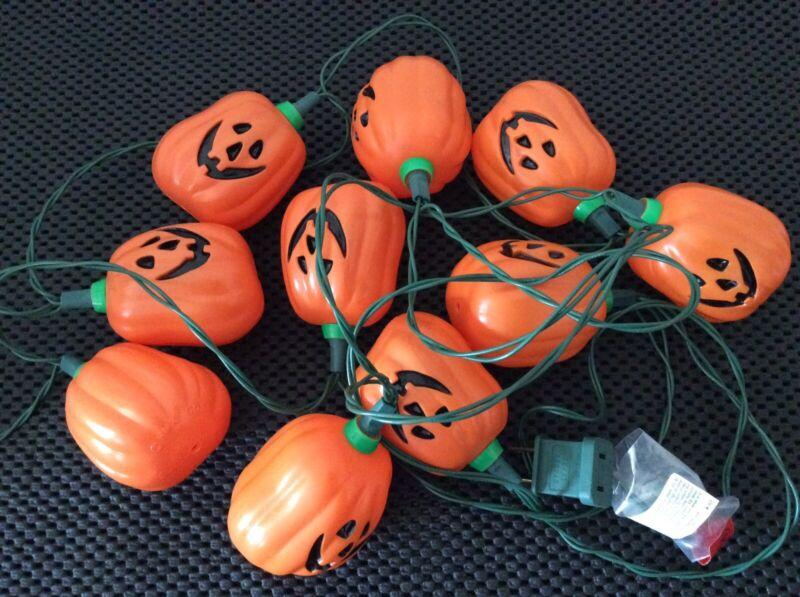 Hallmark Halloween Boo Blinkers Pumpkin Jack O Lantern Blow Mold String Lights