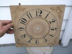 ANTIQUE 0G WOODEN CLOCK FACE, FANCY, EXTRA LARGE,10 TIME TRACK, 3 5/8 ARBOR WI