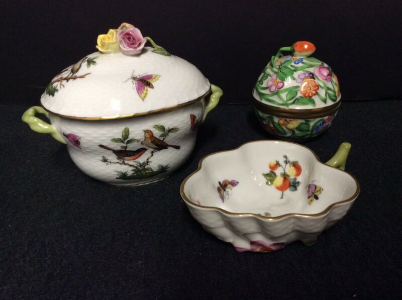 Three(3) Vintage Herend Hungarian Porcelain Pieces