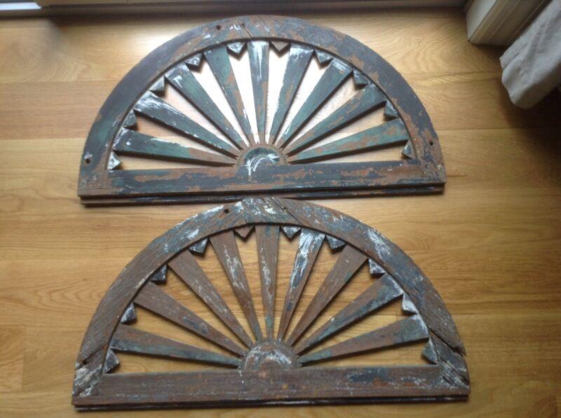 Antique Architectural Window Header Element  Pair