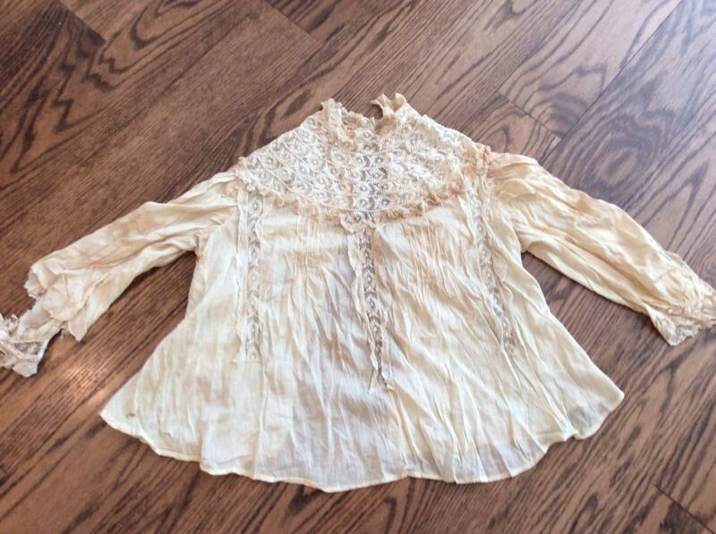 """shabby antique vtg """"As Is""""  Net Lace Shirt Victorian collar blouse"""