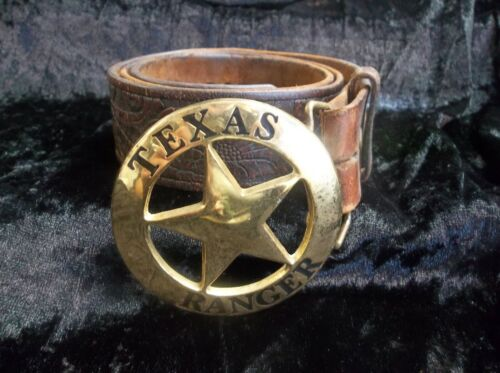 Justin Texas Ranger western Tooled Top Grain Brown leather Size 34 Gold buckle