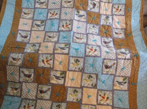 Cute Birds with Beautiful Colors Finished Quilt.. Warm and Long