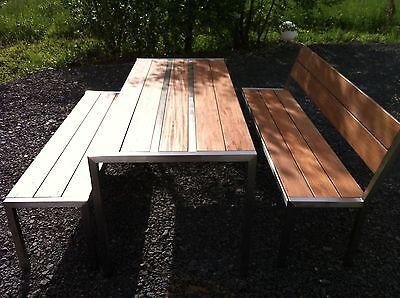 design edelstahl-gartenmöbel tisch + 2 bänke tisch | ebay, Gartenarbeit ideen