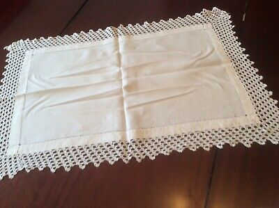 Attractive crochet lace edged  Large Butlers cloth / tray cloth (C9)