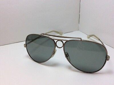 Vintage 60's Aviator Sunglasses Gunmetal RARE Double Bar w/ Circle
