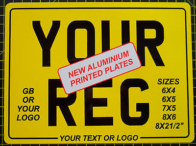 Printed Aluminium Motorcycle Registration Number Show Plate 7x5 6x4 6x5 8x6 8x2