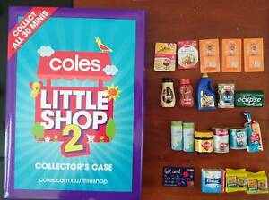 COLES LITTLE SHOP 2 COLLECTORS BOX AND 20 MINI COLLECTABLES