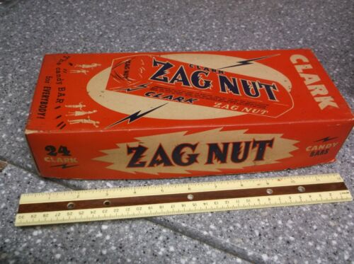 Vintage clark ZAGNUT candy bar box super strong