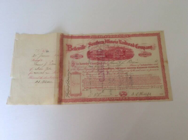 1870 Issued and Signed by Presidential  Candidate Samuel Tilden Rare Combo