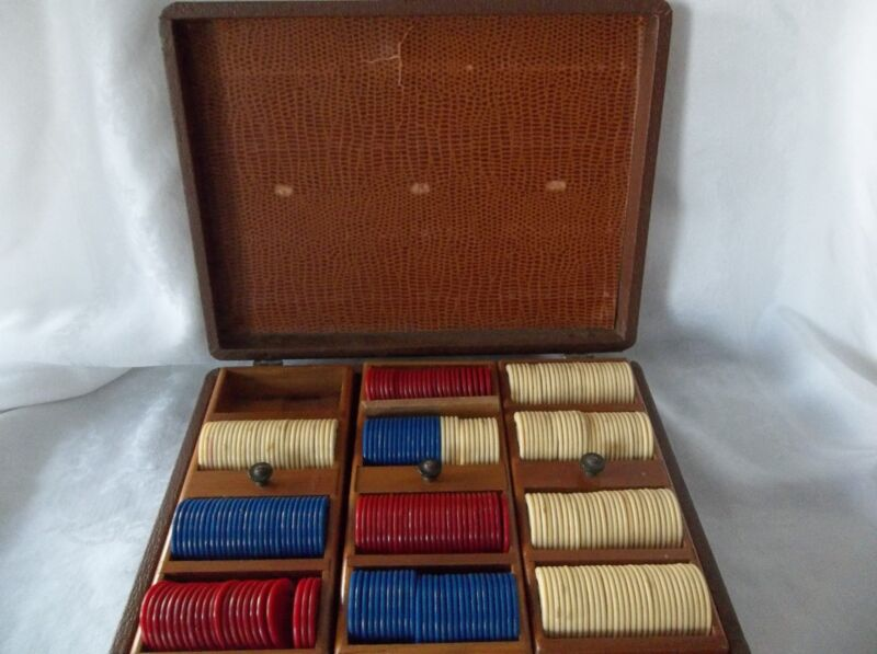 Vintage  Poker Chip Case  3 Trays TRAVEL CASE WITH  CHIPS