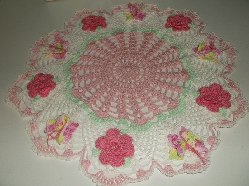 """New Hand Crochet Spring Rose Doily French Rose, Roses 13"""" Butterfly"""
