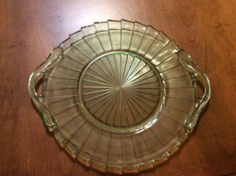 "Green Depression  Sierra ""Pinwheel"" Sandwich Tray By Jeannette"