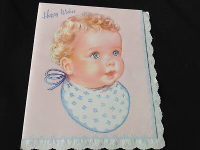 #729 Angelic Vintage 1940s Baby Greeting Card Curly Baby Head Blue Eyes ()