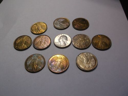Lot of 10-vintage toned golden 2 sided guardian angel coin/token- 1 inch- each c