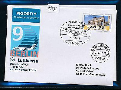 "99432) LH A380 SF + Taufe ""BERLIN"" - Frankfurt 22.5.2012 Plusbrief Ind. Br.Tor"