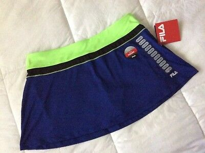 Fila Womens Athletic Skort Skirt Blue W Black & Bright Green NWT Sz XXL