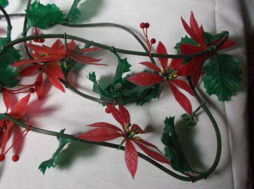Vintage Christmas Garland Poinsettia Holly Plastic 11