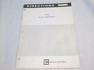 Leeds Northrup 324190 Dc Null Detector Kit Directions Manual 177598 Issue 2