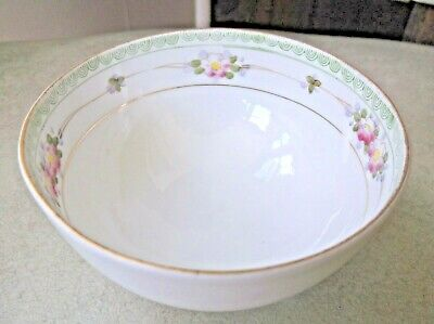 Vintage Footed Berry Bowl Nippon Hand Painted Floral Motif