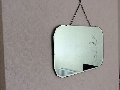 Vintage original frameless etched bevel edged mirror with hanging chain