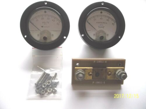 """Voltmeter and Ammeter matched set. military 0-50 VDC,0-80 ADC,3-1/2""""with shunt"""