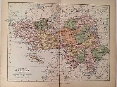 Galway 1882 Antique County Map, Ireland, Atlas, Bartholomew, Dunmore Clare
