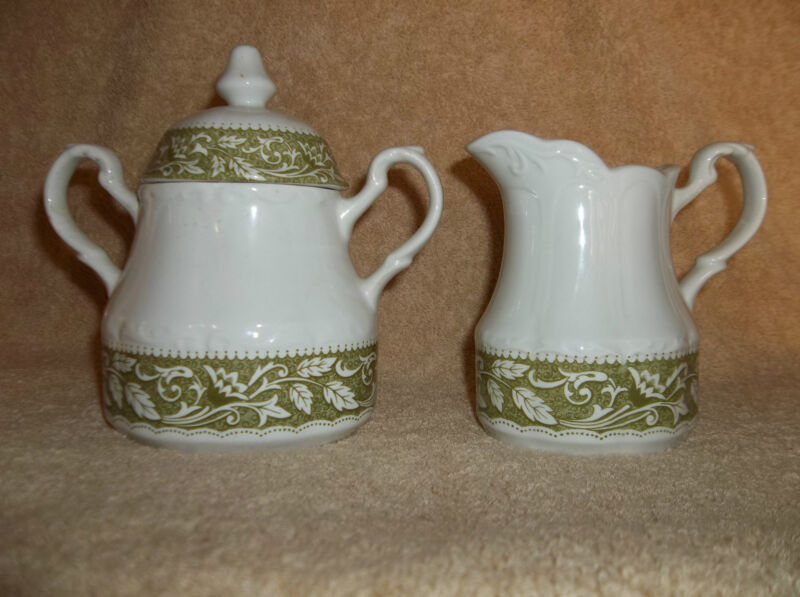 J&G MEAKIN STERLING COLONIAL ENGLISH IRONSTONE SUGAR & CREAMER GREEN FLORAL.