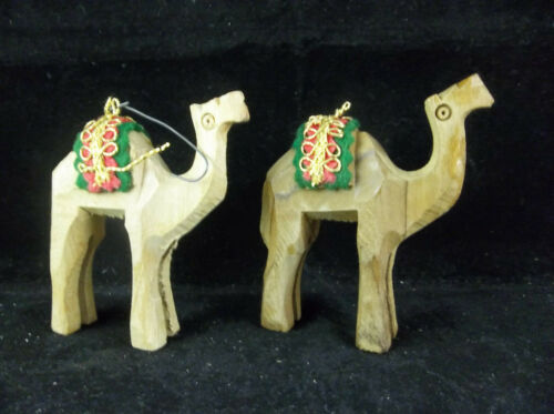 Lot Of 2 Hand-Carved Wood Camel