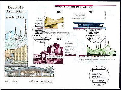 BRD 1997 Block 37 FDC mit MiNr. 1906-1909  Deutsche Architektur nach 1945