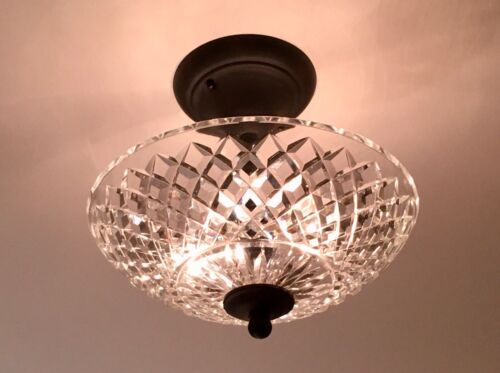 Vintage Clear Crystal Glass Round Ceiling Light Fixture