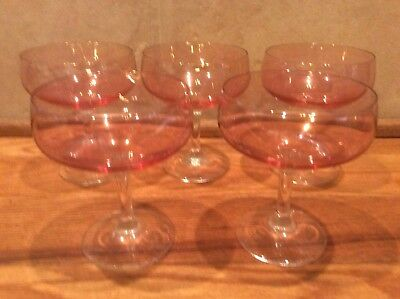 5 Pink Champagne Sherbet Glasses Clear Stems