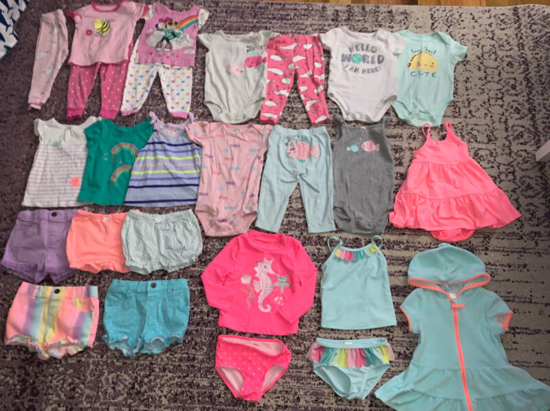 Big Lot Baby Girl Clothes Spring Summer Carter's Mixed Brands Size 12 Months Euc