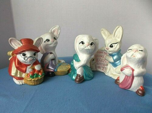 Lot of 5 Vintage Ceramic Easter Bunnies Rabbits  Hand Painted
