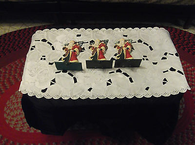 3 Vintage Solid Cast Iron Santa Claus, Christmas Tree Stocking Hangers