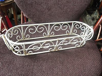 VINTAGE WROUGHT IRON WHITE COATED OVAL PLANT POT HOLDER RING HANDLES 16