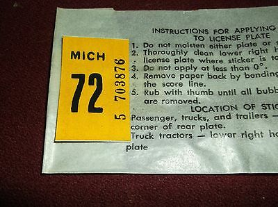 1972 Michigan License Plate Sticker  Car Automobile