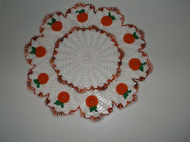 New Hand Crochet Thanksgiving Pumpkin  doily Centerpiece 13 1/2 White