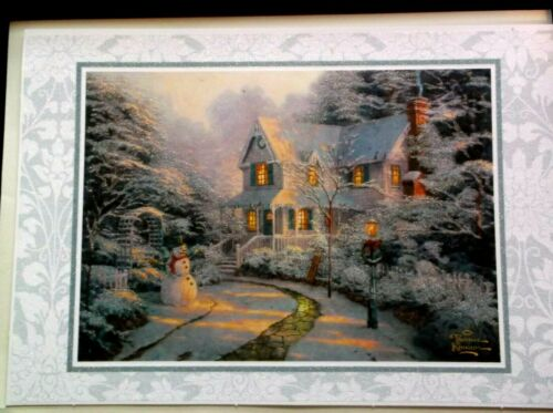 THOMAS KINKADE Greeting Card CHRISTMAS SNOWMAN Scene GLITTERED  New!
