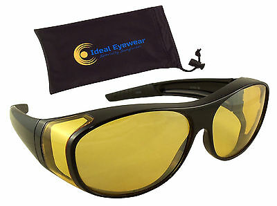 Night Driving Glasses Yellow Lens Wear Over Cover Anti Glare Fit Over (Ladies Night Driving Glasses)