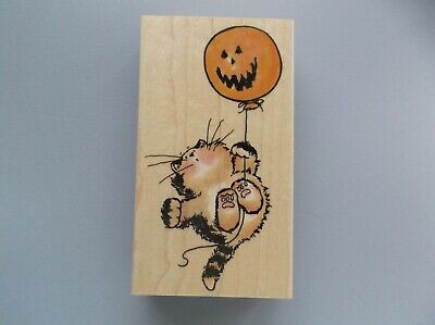 PENNY BLACK RUBBER STAMPS SPOOKTACULAR PARTY HALLOWEEN CAT NEW wood STAMP ](Spooktacular Party)